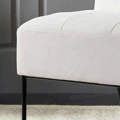 Eluxury Armless Tufted Accent Chair Cream Velvet Tufted Accent