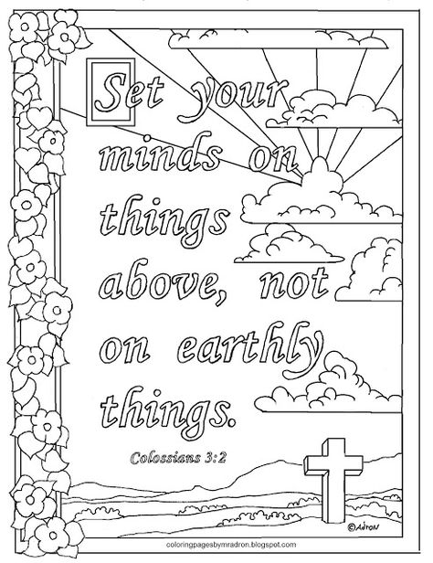 Colossians 3 2 Print And Color Page Set Your Mind On Things Above