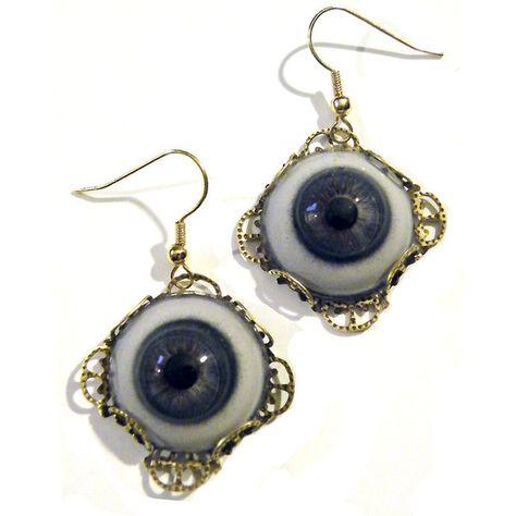 Steampunk Human Blue Life Size Glass Eye Eyeball by tempusfugit Gothic Earrings, Steampunk Earrings, Goth Jewelry, Funky Jewelry, Blue Earrings, Glass Earrings, Jewelry Accessories, Filigree Earrings, Jewellery