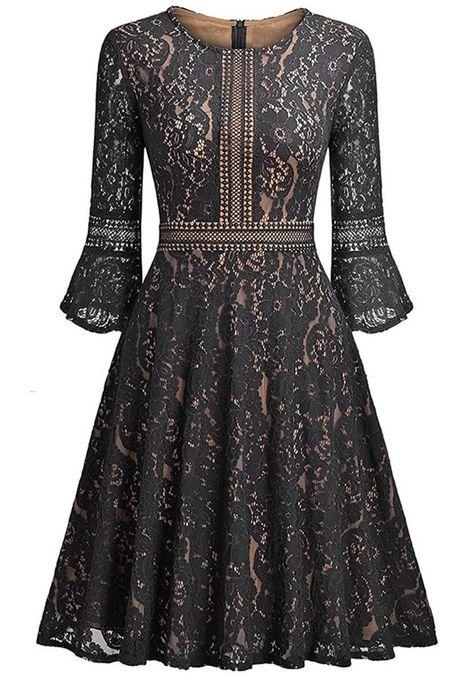 Ankosen Women's Full Lace Contrast Flare Sleeve Big Swing A-Line Vintage Dress