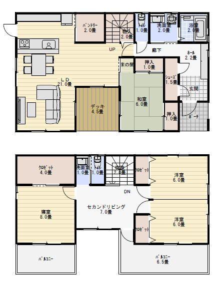 41坪4ldkデッキ中庭のある家の間取り 新築間取り 間取り 中庭の