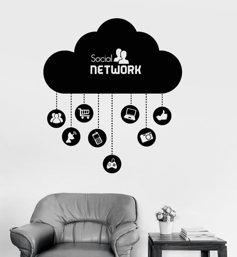 vinyl wall decal cloud social network computer technology it