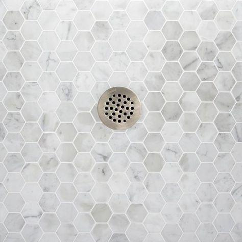 Shower Floor, Marble Mosaic Tiles, Bathroom Flooring, Bathroom Remodel Master, Shower Floor Tile, Hexagon Tiles, Marble Mosaic, Shower Tile Designs, Hexagon