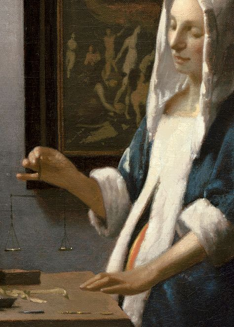 johannes vermeers woman holding a balance essay From national gallery of art, washington, dc, johannes vermeer, woman holding a balance (1664), oil on canvas, 397 × 355 cm johannes vermeer is best known for his meticulously rendered images of women in light-filled domestic interiors a slow and methodical painter, vermeer.