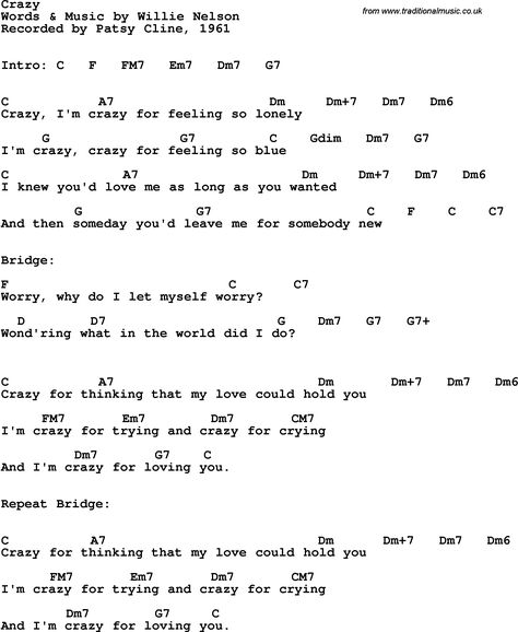 Song Lyrics with guitar chords for Crazy - Patsy Cline, 1961 | Don\'t ...