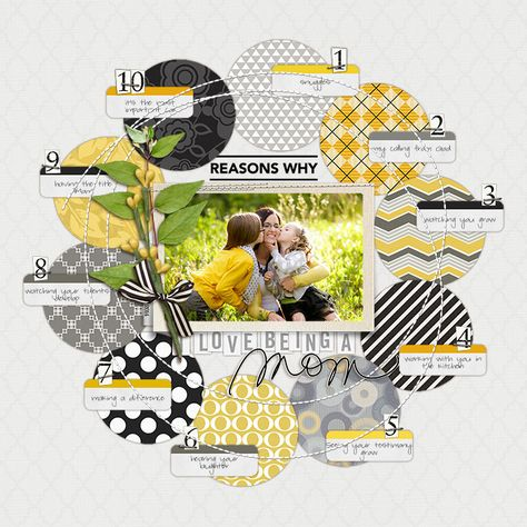 10 Reasons Why I Love Being a Mom Scrapbook Page - Digital Scrapbooking Ideas - DesignerDigitals Cute circles Studio Calico, Baby Scrapbook, Scrapbook Paper Crafts, Scrapbook Cards, Birthday Scrapbook Layouts, Scrapbook Layout Sketches, Scrapbook Designs, Crate Paper, Scrapbooking Photo