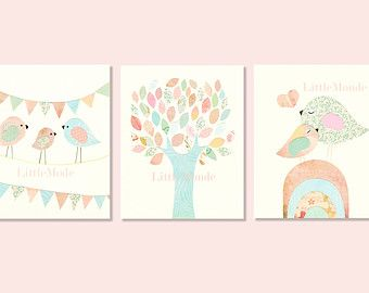 Baby Mädchen Kinderzimmer Prints, Kinderzimmer Kunst, französische Kindergarten, Pastell Kinderzimmer Prints, SET von 3 Drucke, Vögel, Baum, Shabby Chic, Sweet