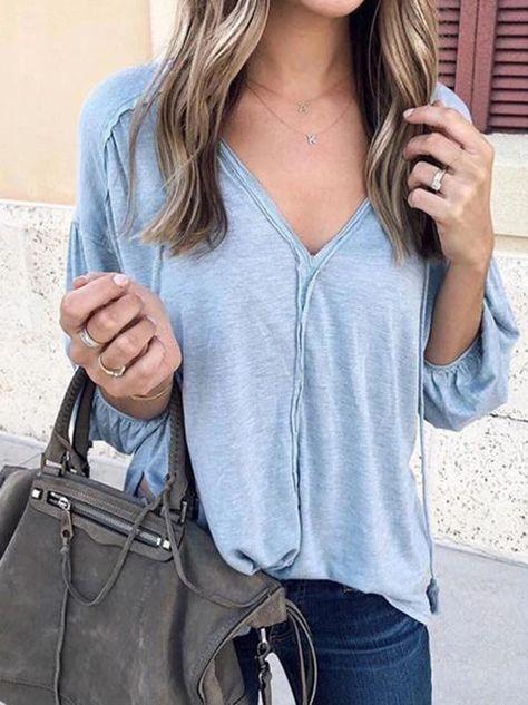 Solid Puff Sleeve Blouses&shirts Tops – Jartini blouses shirts style v neck t shirts white v neck blouse ruffled trimmed short sleeve v neck blouse #shirts #tshirt #offtheshoulder #sweatheart #croptop #bardot #blouse #vneck