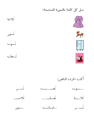 أوراق عمل اللغة العربية الثــاء المفتوحة مغتربة Arabic Resources Learning Arabic Arabic Worksheets