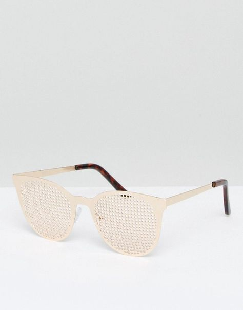 012f9f339b Get this Asos's sunglasses now! Click for more details. Worldwide shipping.  ASOS Novelty Metal Retro Glasses With Metal Grate Lens - Gold: Sunglasses  by ...
