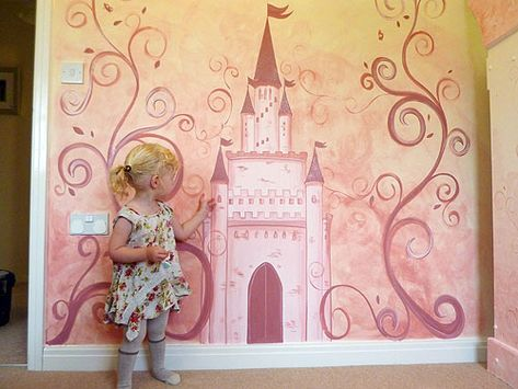 Beautiful castle mural, with intricate detail, great idea for a little girl's bedroom. Joanna Perry is a qualified artist based in Chesire, England. Joanna specialises in creating stunning hand painted children's murals, which are certain to enhance any room and make an exciting alternative to wallpaper or stickers.