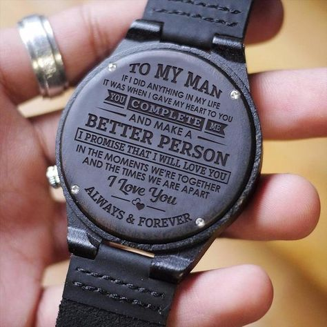 Great Gift For Men Engraving Wooden Watch - Perfect Gift For Husband