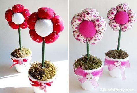 Handmade Kursy Wzory Tutoriale Kwiaty Z Materialu Plush Flower Flower Pot Centerpiece Flower Crafts