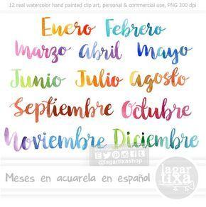 Meses Del Ano Espanol Letras En Acuarela Cursiva Png Clipart