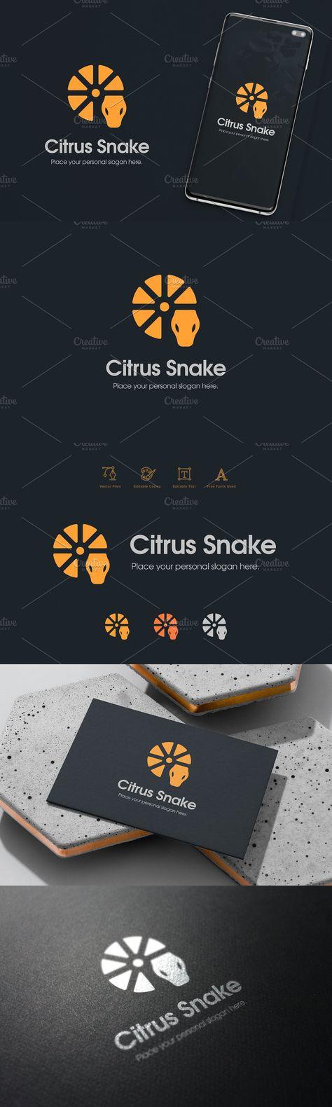 Lemon Citrus Snake Logo