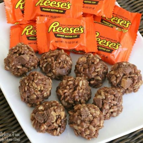 No-Bake Krispie Reese's Cookies - Kitchen Fun With My 3 Sons