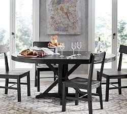 Hart Round Reclaimed Wood Pedestal Extending Dining Table Black