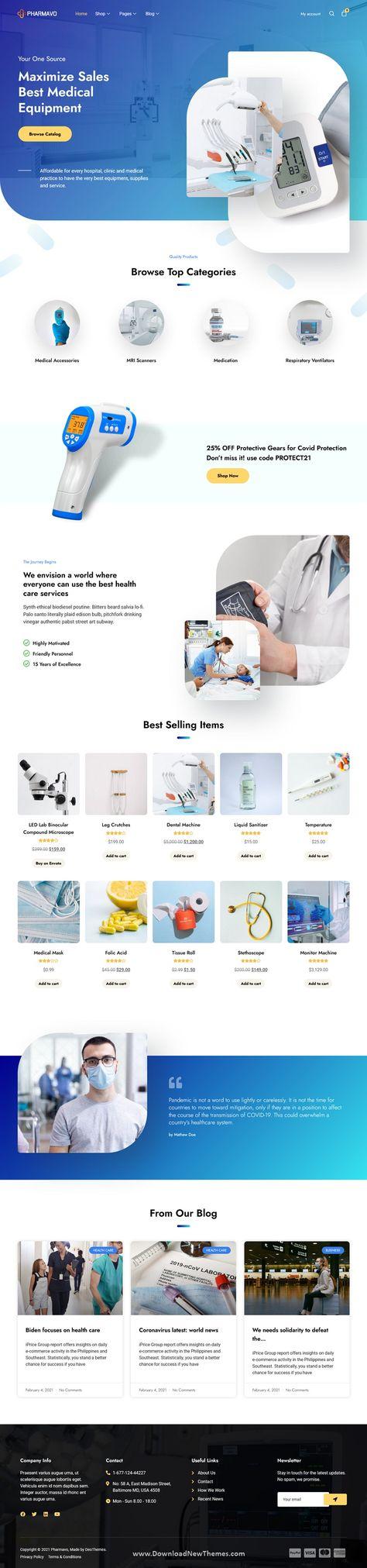 Pharmavo Medical Supplies eCommerce Elementor Template Kit