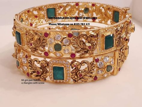 Latest collection of stone bangle. Presenting here 66 gm pair Nakshi work Czs bangles and 65 gm pair of Uncut Diamonds Bangle with screw system. Visit for best designs. Contact no 8125 782 24 March 2019
