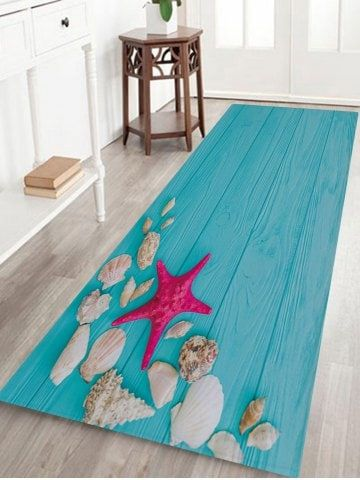 Shop For Lake Blue W24 Inch L71 Inch Sea Star Conch Printed Indoor Outdoor Area Rug Online At 23 99 And Discover Fashion Rugs On Carpet Floor Area Rugs Rugs