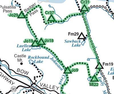 Map Of Mystic Pass Flint S Park And Badger Pass Loop Area Parks Canada Banff National Park Banff