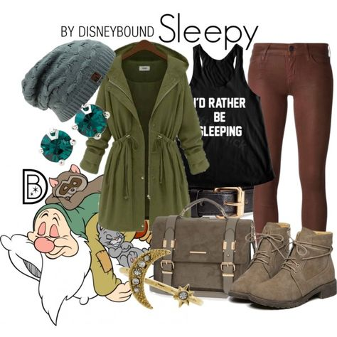 Sleepy by leslieakay on Polyvore featuring Koral, River Island, Kent & King, H&M, 7 For All Mankind, disney, disneybound and disneycharacter