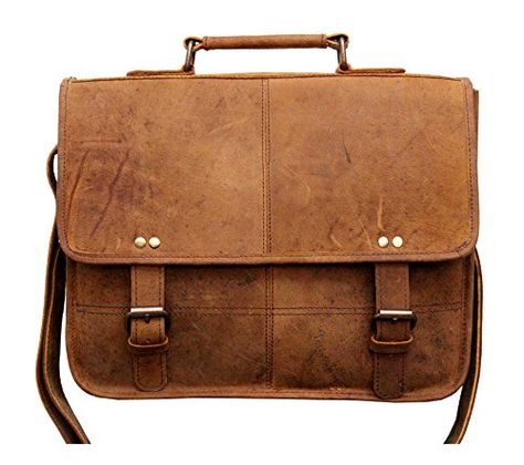 "Buffalo Leather Messenger Bag Mens 13/"" Laptop Satchel Office College Crossbody"