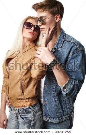 Sexy Young Couple Wearing Jeans In The Studio Stock Photo 99791255 : Shutterstock