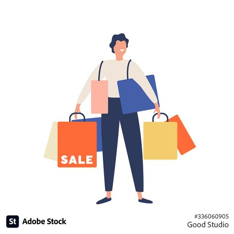 Flat design of person holding shopping bags and smiling