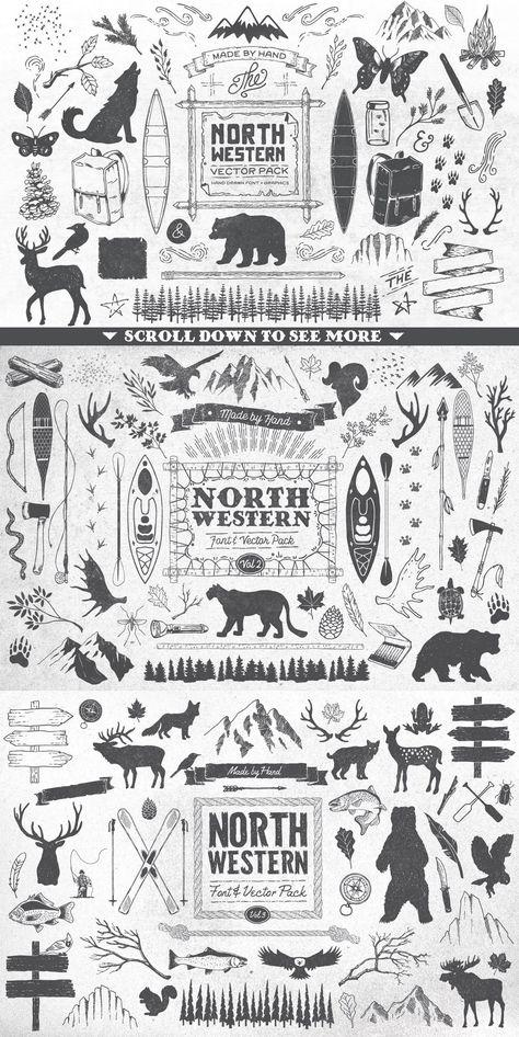 North Western Font   Vectors BUNDLE Western#Font#North #affiliate