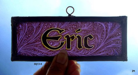 Stained Glass Window Fragment, Name, Eric, hand painted, Leaded, Hangable, fragment : 30J13-4