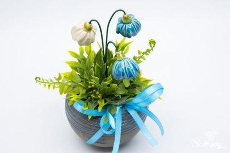 Kerámia virág: Türkiz Kisgömb Kankalinnal