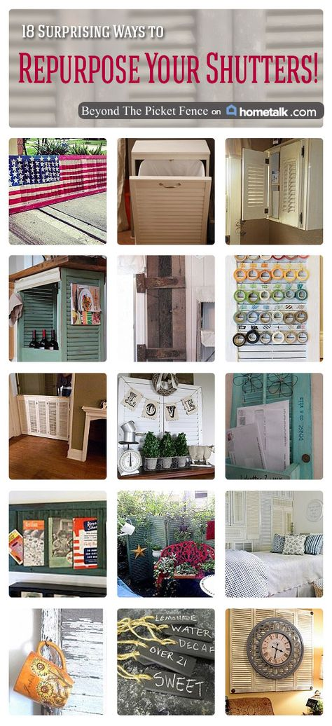 18 Surprising Ways to Repurpose Your Shutters | curated by 'Beyond the Picket Fence' blog!