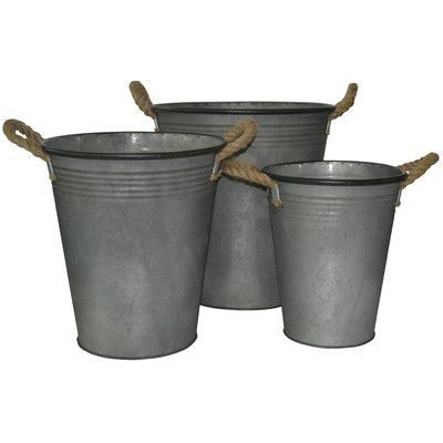 Cheungs 3 Piece Tapered Metal Bucket Set