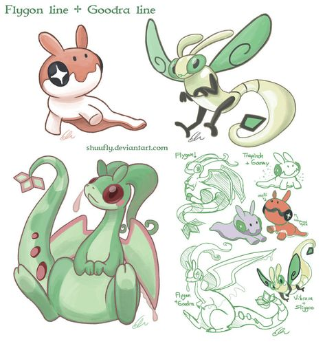 Flygon And Goodra Line Fusions By Shuufly On Deviantart Pokemon