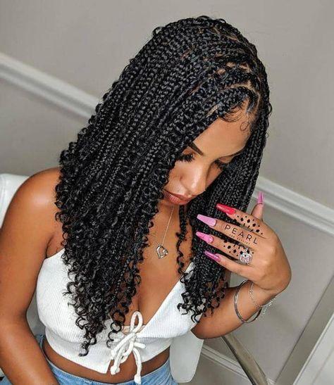 Box Braids Bob, Braids With Curls, Braids Wig, Braids For Black Hair, Girls Braids, Black Girl Braids, Cornrows, Short Box Braids, Braids For Black Women