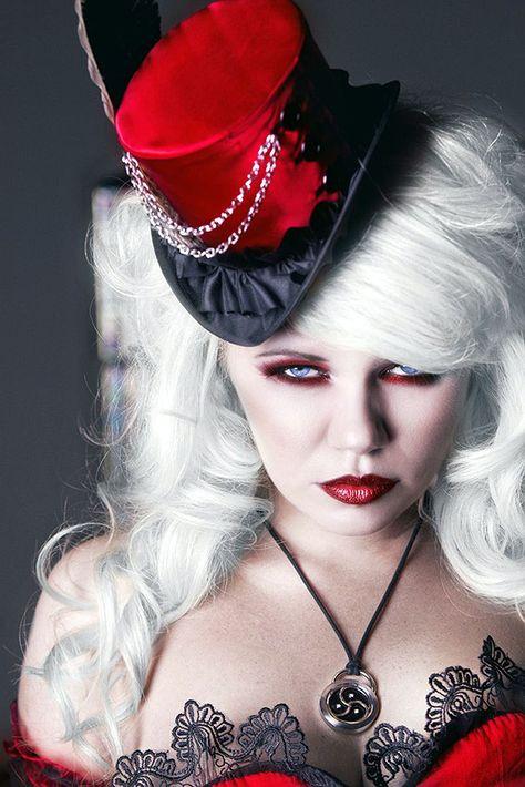 ༻✿ღ‿§§R♥Z§§ღ‿✿⊱╮¨) ¸.•´¸.•*´¨) ¸.•*¨) (¸.•´ (¸.•`¤steampunksteampunk:  Red Gothic Corset Dress with asymmetrical skirts by KMKdesigns.org