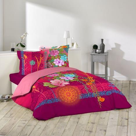 Parure Housse De Couette En Coton 42 Fils Theme Floral Et Arabesques Multicolore 240x220 Cm Parure Housse De Couette Housse De Couette Housses