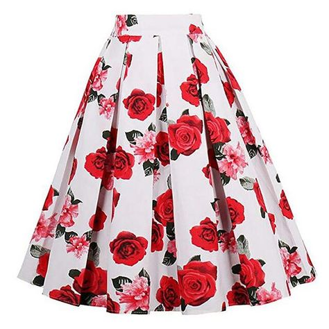 Summer women skirts vintage aline floral high waist printed pleated flared gown skirts party beach casual knee length skirts