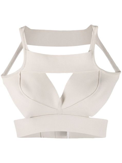 Pearl white cotton structured cut-out tank top from Rick Owens featuring a square neck, a sleeveless design, a fitted silhouette, cut out details and an open back. Cut Up Shirts, Strapless Tops, Diy Tops, Outfit Combinations, T Shirt Diy, Rick Owens, Pearl White, Women Wear, Tank Tops