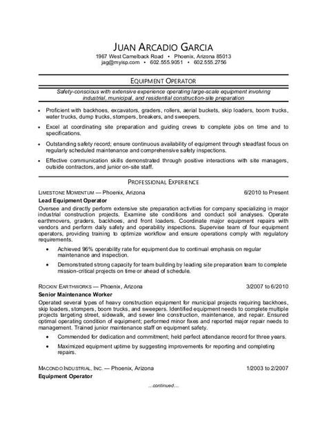 functional-resume-sample-2 resume Pinterest Functional - equipment operator sample resume