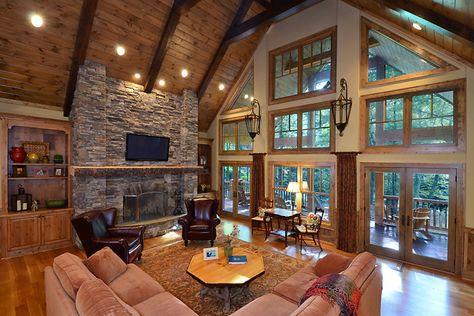 Vpc Builders Llc Blowing Rock Nc Custom Home Builders Vaulted Ceiling Living Room Rustic House Rustic Living Room
