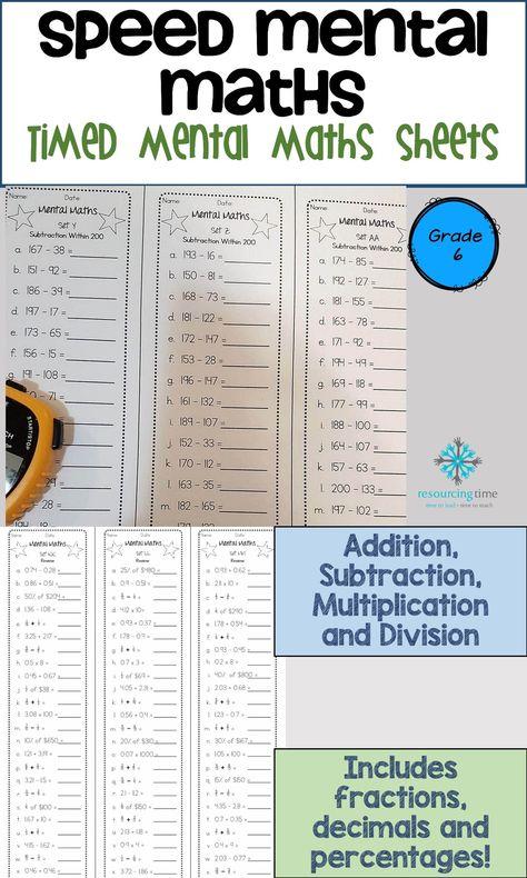 Year 6 Speed Mental Maths Australian Curriculum Math Teaching
