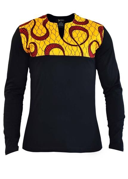 9f69b429f Ayo Men's African Print Long Sleeve Shirt (Yellow And Red Swirls/Black)