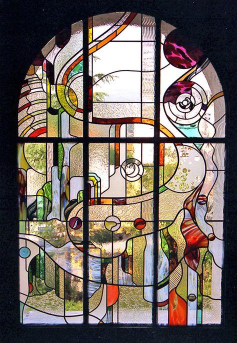 vitraux plan   ... Gellusseau - Vitrail contemporain, 2m,60 x 1m,50, 2001, Vitrail