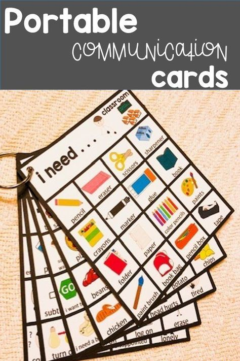 Autism and Speech Portable Visual Communication Cards.