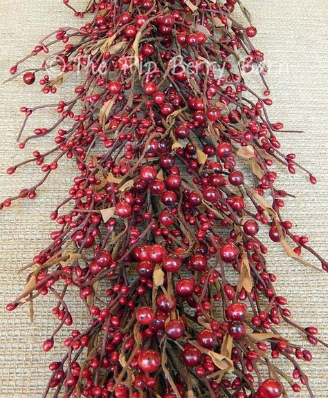Red Berry Garland Holiday Garland Country Home Decor Christmas Berries Wreath Making Wreaths And Swags Berry Garland Christmas Berries How To Make Wreaths