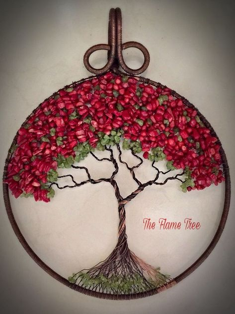 """Atbot Det Fuego"" ~ The Flame Tree: 11""x9"", red coral and peridot gemsto... - #11x9 #atbot #coral #Det #flame #fuego #gemsto #peridot #Red #Tree"