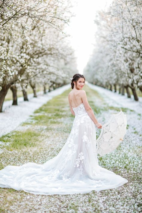 Whimsical Almond Orchard Blossom Wedding Inspiration – Playful Soul Photography 20  Blossoming orchards are the perfect backdrop for a nature-filled outdoor celebration.  #bridalmusings #bmloves #wedding #weddinginspo #weddinginspiration #blossom #orchard #outdoorwedding
