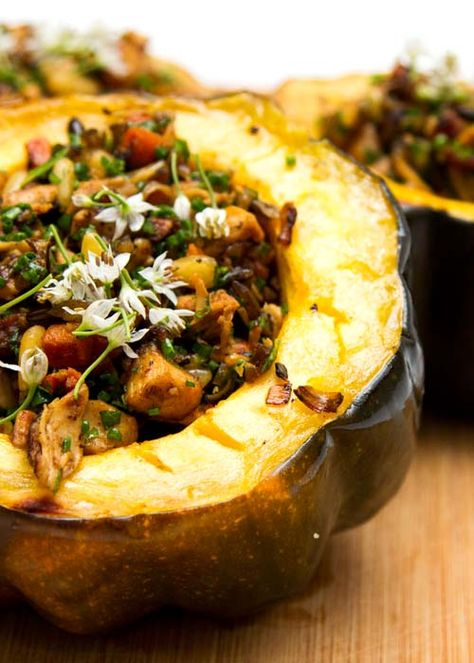 Smartchicken Com Chicken Wild Rice Stuffed Acorn Squash Recipe